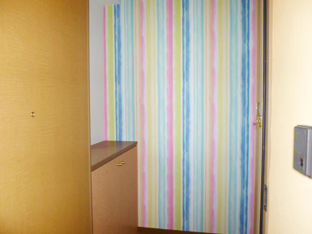 玄関から広がるカラフルな色彩!遊び心ある広々1DK・空室対策後